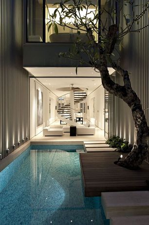 Contemporary Swimming Pool with Indoor pool, Pool with hot tub, Pathway, Aashild Kalleberg Magnolia Tree