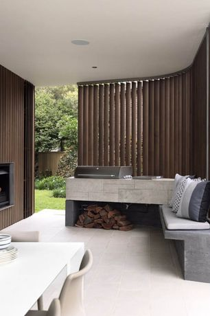 Contemporary Porch with exterior tile floors, Outdoor kitchen
