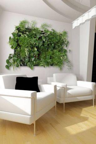 Contemporary Living Room with Hardwood floors, Pendant light