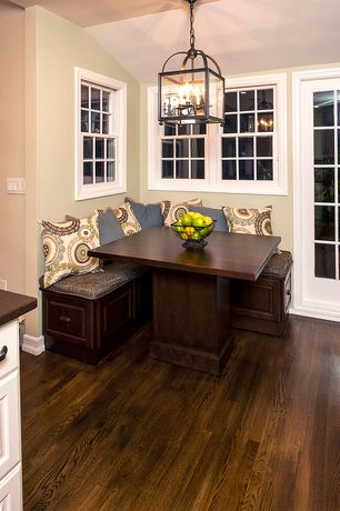 Traditional Kitchen with TMS 3 Piece Nook Dining Set Espresso, Restoration hardware weston square pendant