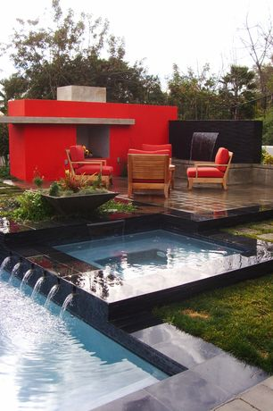 Contemporary Swimming Pool with Pathway, Raised beds, Fountain, exterior tile floors