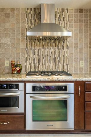 """Contemporary Kitchen with Complex granite counters, Gliderite hardware classic 5.75"""" cabinet pull, Stainless steel appliances"""