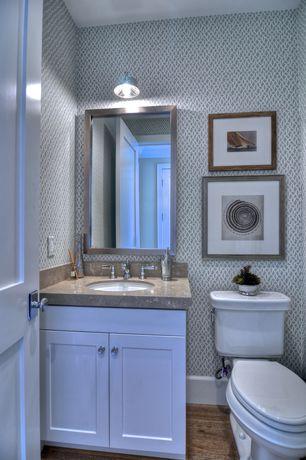 "Modern Powder Room with Limestone, Flat panel cabinets, Undermount sink, RonBow 603423 Metal Framed 23"" x 34"" Mirror, Flush"