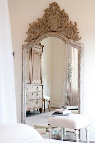 room with Large mirror, Carved wood, Chippendale style highboy, Upholstered stool