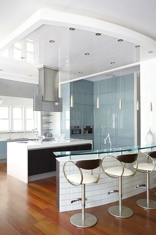 Contemporary Kitchen with Corian- Designer White, Kitchen island, Open shelving, Chandelier, Lacquer finish cabinets