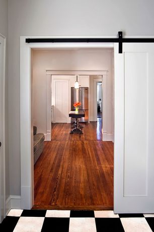 Traditional Hallway with Hardwood floors, Standard height, specialty door, Glass panel door