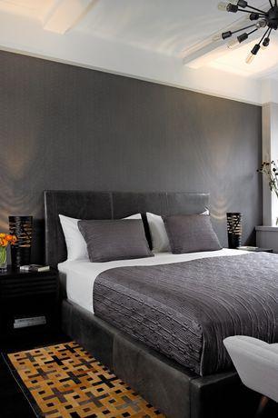 "Modern Master Bedroom with Exposed beam, Sputnik filament chandelier 40"" - aged steel, Pendant light, Hudson rug, Paint 1"