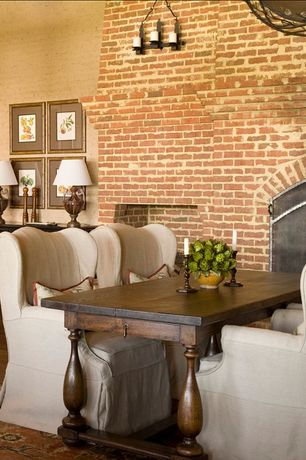 Country Dining Room with interior brick, Hardwood floors