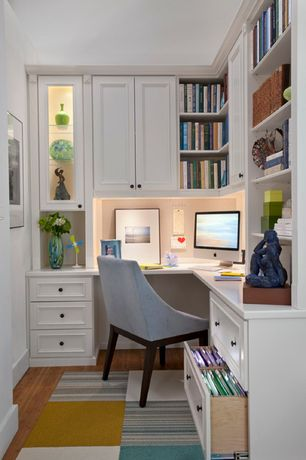 Traditional Home Office with Hardwood floors, Sawyer dining chair, Built-in bookshelf