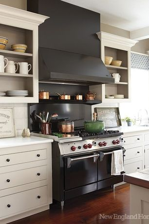 Contemporary Kitchen with full backsplash, Paint 3, Paint 2, Ceramic Tile, Inset cabinets, Undermount sink, One-wall