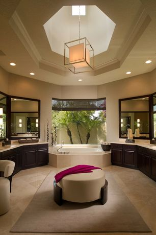Contemporary Master Bathroom with Homeware bax ottoman, World imports lighting hilden foyer pendant, Limestone, can lights