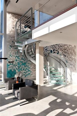 Contemporary Staircase with Standard height, Spiral staircase