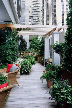 Traditional Deck with Raised beds, Trellis, Fence, Casement