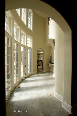 Traditional Hallway with French doors, slate tile floors, Paint