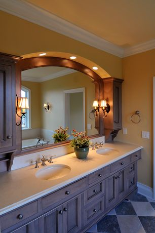 Country Master Bathroom with Ms International Silver Vein Cut Travertine Tile, Double sink, Flat panel cabinets, Wall sconce