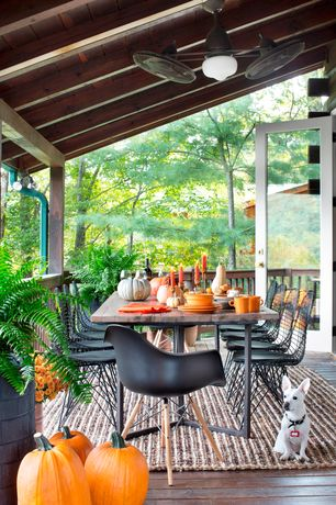 Rustic Deck with French doors, Fiesta Tangerine Dinnerware - Set of 5, Wire Steel Side Chair with Black Vinyl Cushion