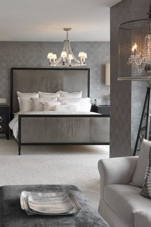 Contemporary Master Bedroom with Standard height, interior wallpaper, Chandelier, Carpet