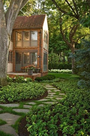 Traditional Landscape/Yard with Casement, Fence, Pathway