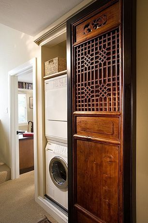 Asian Laundry Room with Built-in bookshelf, Standard height, laundry sink, Carpet, drop-in sink