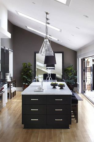 Contemporary Kitchen with Farmhouse sink, Kitchen island, Pendant light, 20th c. factory filament clear glass funnel pendant