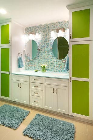 Contemporary Full Bathroom with Undermount sink, Flush, Garland rug sheridan bath rug, Double sink, Flat panel cabinets
