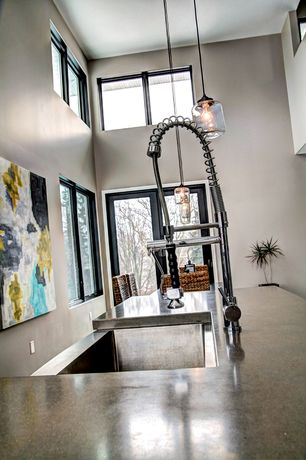 Contemporary Kitchen with Glass jar pendant - clear, Lannister pull-down kitchen faucet with spring spout