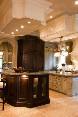 Traditional Kitchen with Crown molding, Complex granite counters, Flat panel cabinets, L-shaped, Glass panel, Kitchen island