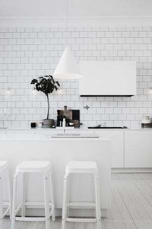 Contemporary Kitchen with Undermount sink, Corian counters, Matte Pendant in Gray, Wall sconce, One-wall, European Cabinets