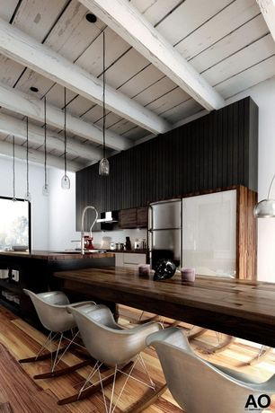 Contemporary Kitchen with Undermount sink, picture window, Breakfast nook, Kitchen island, full backsplash, Wall Hood, Flush
