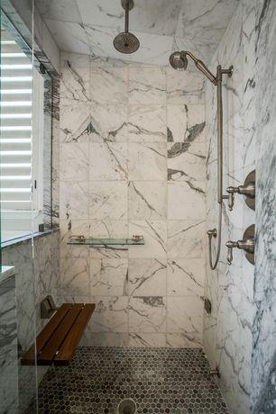 Contemporary Master Bathroom with Wall-mount teak folding shower seat, frameless showerdoor, Rain shower, Shower