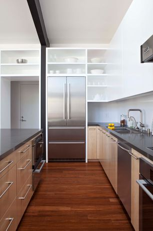 Contemporary Kitchen with flat door, Multiple Sinks, double wall oven, Kitchen island, Quartz counters, European Cabinets