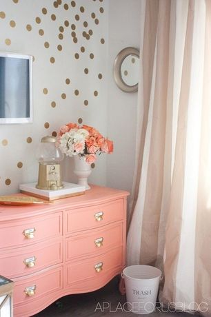 Eclectic Kids Bedroom with interior wallpaper, Carpet, Restorers label holder drawer pull, Gumball dispenser, High ceiling