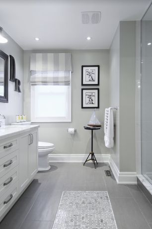 Traditional 3/4 Bathroom with Ms international metro gris 12 in. x 24 in. glazed porcelain floor and wall tile, Roman shade