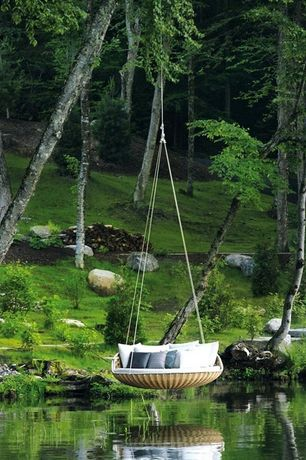 Contemporary Landscape/Yard with Pathway, Pond, Dedon swingrest hanging lounger