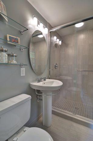 "Contemporary 3/4 Bathroom with Spancraft Glass 36"" Regency Round Frameless Wall Mirror, Pedestal sink, High ceiling"