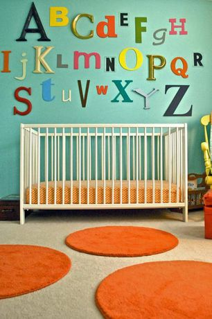 Contemporary Kids Bedroom with Wool polka dot rugs, Gulliver crib, Carpet, Standard height, Paint 1