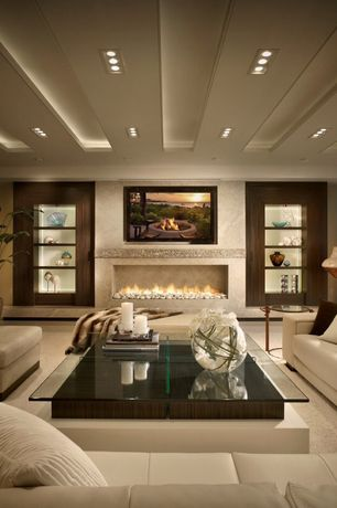 "Contemporary Living Room with Eurofase Lighting TE213 4"" 3 Light Multiple Trimless Recessed Light, Box ceiling, Carpet"