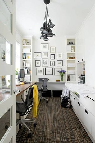 Contemporary Home Office with Crown molding, Established & Sons Torch Suspension Light-Bunch, Built-in bookshelf, Carpet