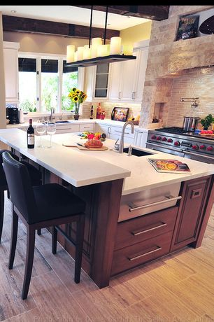 """Traditional Kitchen with Raised panel, Undermount sink, Exposed beam, Glass panel, Powell 30.25"""" bar stool, Kitchen island"""