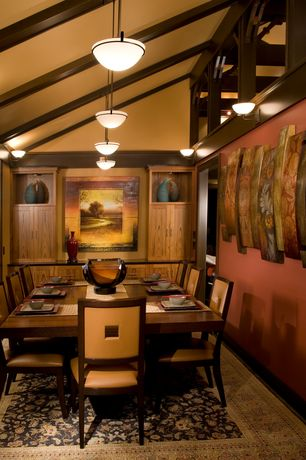 Contemporary Dining Room with Built-in bookshelf, Pendant light, Wall sconce, High ceiling, Box ceiling, Hardwood floors