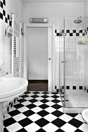 Traditional Full Bathroom with KENNARD PEDESTAL SINK, Handheld showerhead, frameless showerdoor, Pedestal sink, Towel warmer