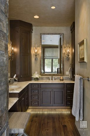 Traditional Master Bathroom with Built-in vanity, Inset cabinets, Carrara white marble, Powder room, Wall sconce, Stone Tile