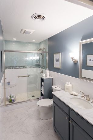 Contemporary 3/4 Bathroom with American olean legacy glass moonlight lg15 2x4 field tile, Undermount sink, three quarter bath