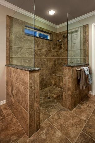 Traditional Master Bathroom with Choose Frameless Pivot Hinge Shower Door Configurations, Handheld showerhead, Crown molding
