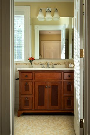 Craftsman Full Bathroom with Inset cabinets, Elida ceramica warm mocha, European Cabinets, Flat panel cabinets, Paint1