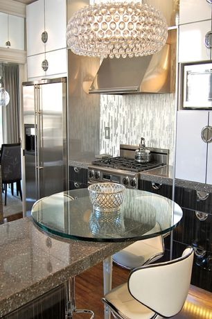 Art Deco Kitchen with built-in microwave, Pental Tempest, Built In Refrigerator, gas range, European Cabinets, One-wall