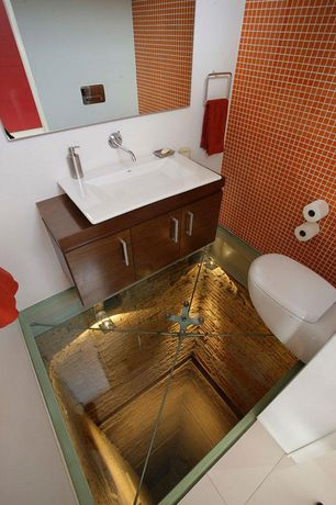 Contemporary Powder Room with IBP Glasswalk SG, File Wall-Hung Toilet, European Cabinets, Vessel sink, Powder room, Flush