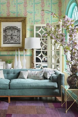 Eclectic Living Room with Hardwood floors, interior wallpaper, Mid Century Sofa, Paint, High ceiling, Chair rail