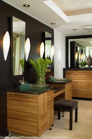Contemporary Master Bathroom with MS International  Black Antique Granite, Wall sconce, Vessel sink, Flush, European Cabinets