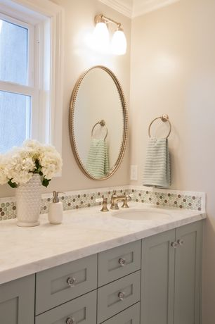 Contemporary Full Bathroom with Penny Tile, Paint 1, Flush, Crystal glass polish penny round everglade pebble blend, Paint 2